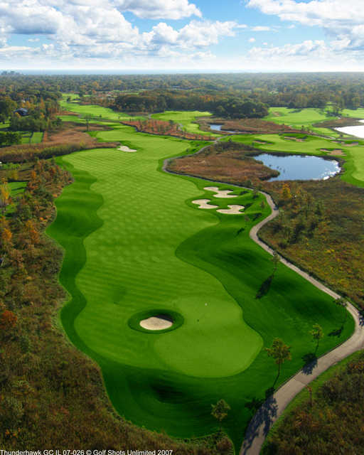 Aerial view of the par-5 2nd hole at ThunderHawk Golf Club