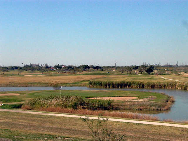 A view of the island green at Llano Grande Golf Course