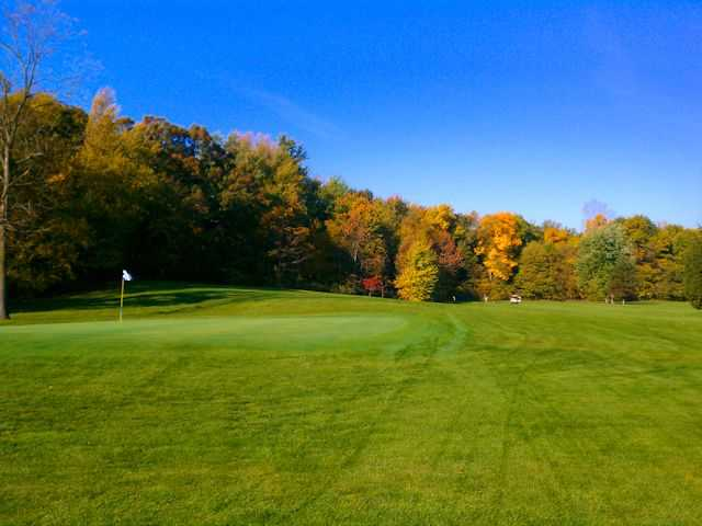 An autumn view of green #4 at Little Bighorn Golf Club