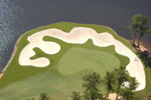 The par-3 4th green from Monticello Golf Club At Savannah Lakes