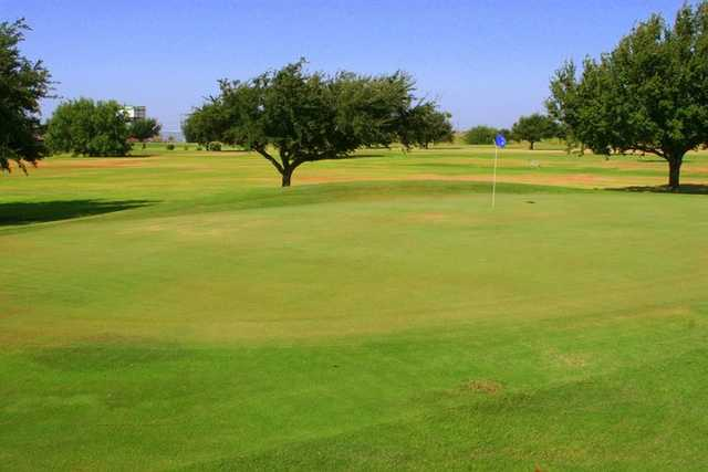 A view of a green at Howling Trails Golf Course.
