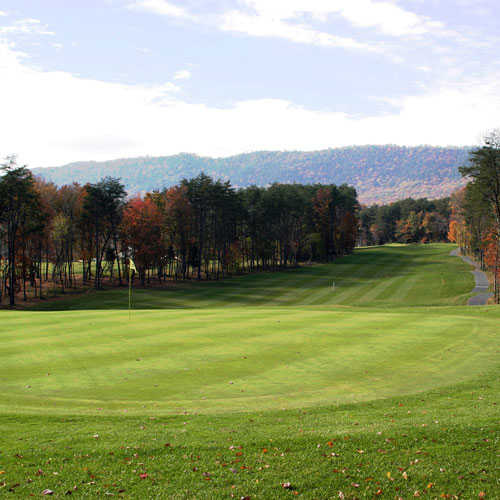A view of green #1 at Woodstone Meadows Course from Massanutten Resort