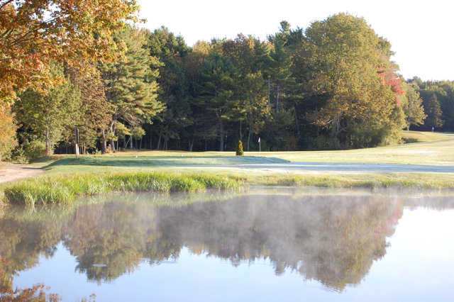 A view over the water of green #2 at Freeport Country Club