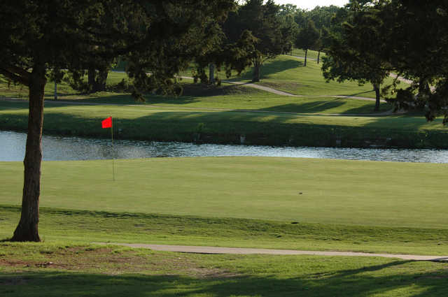 A view of green with water coming into play at Aqua Canyon Course from Cimarron National Golf Club