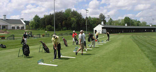A view of the driving range tees at Broad Run Golf & Practice Facility