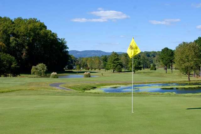 A view of a green with water coming into play at Cross Creek Country Club.