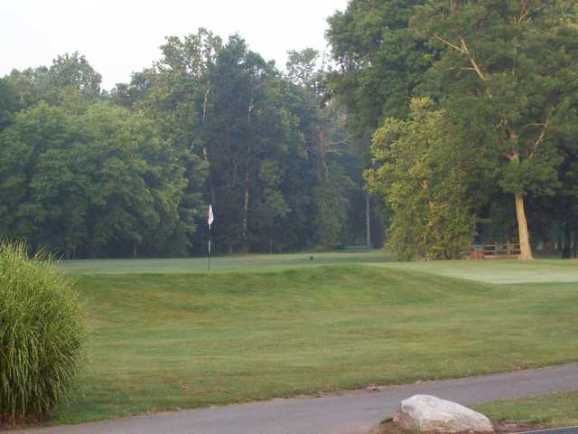 A view of a green with a cart path in foreground from Ambassador at Hickory Valley Golf Club