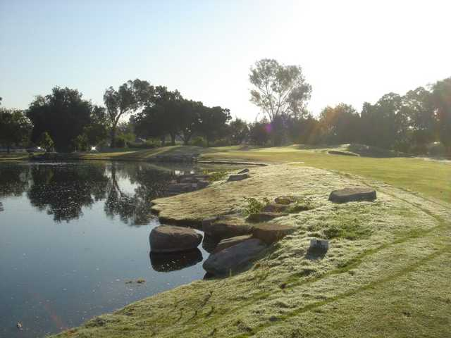A sunny view of a hole with water coming into play from Skylinks at Long Beach Golf Course.