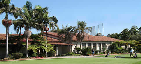 A view of the clubhouse at Rancho Park Golf Course