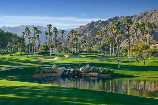 A view over the water of a green at Ironwood Country Club