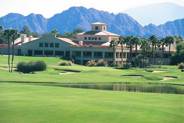 A view of the clubhouse at Desert Falls Country Club