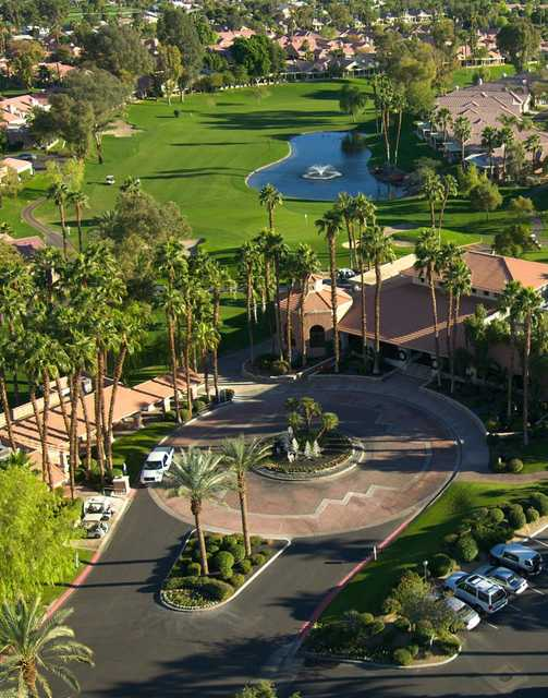 Aerial view of the clubhouse at Oasis Country Club