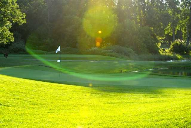 A sunny view of green at Timber Ridge Golf Course