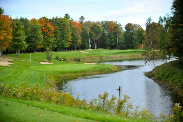 A view of a green with water coming into play at The Lakes Golf Course.