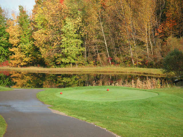 A view from the red tees with water on the right at Grandview Golf Club