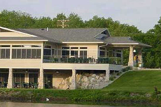 A view of the clubhouse at Whitefish Lake Golf Club