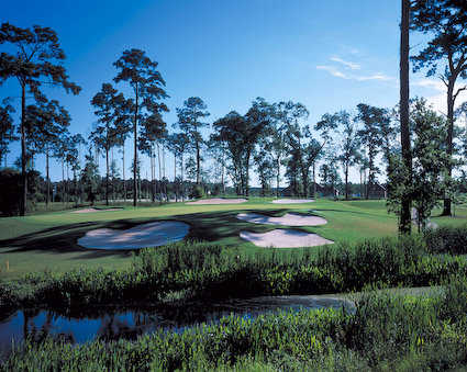 A view of green protected by bunkers at Gray Plantation