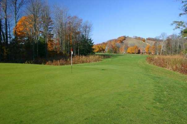 A view of green #10 at Betsie Valley from Crystal Mountain Resort