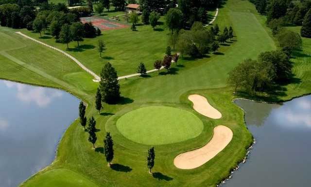 Aerial view of a green surrounded by water at Lockhaven Country Club