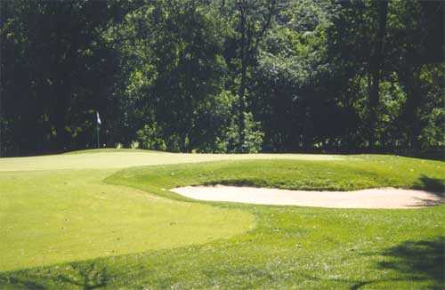 A view of the 14th green at Coyote Crossing Golf Course