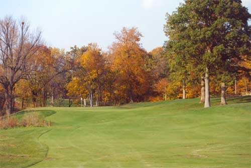A fall view of the 16th hole at Coyote Crossing Golf Course