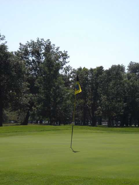 A view of green #16 at Crossroads Course from Majestic Oaks Golf Club