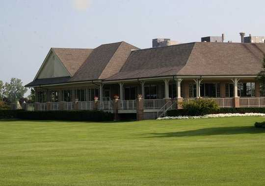 A view of the clubhouse at Golden Fox Course from Fox Hills Golf Center