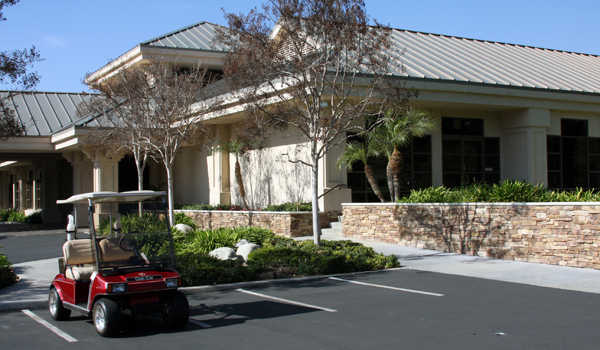 A view of the clubhouse at Redlands Country Club