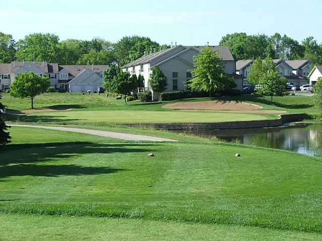A view of green with water on the right at Valley Ridge Golf Course