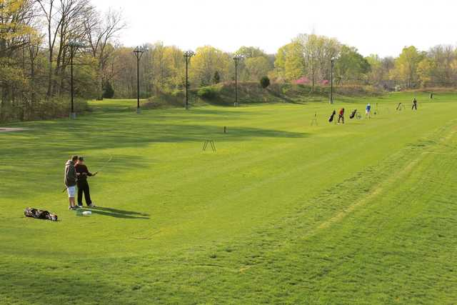 A view of the driving range from Eagle Creek Golf Club