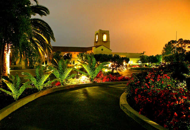 A beautiful dusk view of the clubhouse at Montecito Country Club