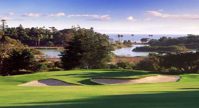 A view of a green protected by bunkers at Montecito Country Club