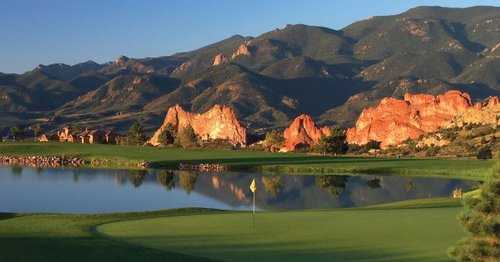 A view of a hole with water coming into play at Garden of the Gods Club.