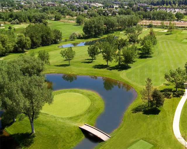 Aerial view of green #5 at Columbine Country Club