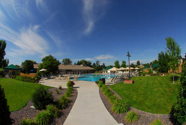A view of the clubhouse and swimming pool at Columbine Country Club