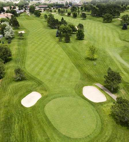 Aerial view of the 10th green at Colorado Springs Country Club