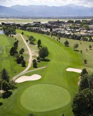 Aerial view of the 18th hole at Silver Spruce Golf Course
