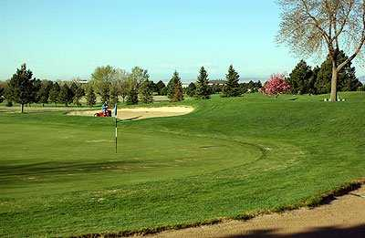 A spring view of green at Silver Spruce Golf Course