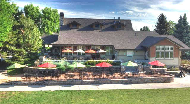 A view of the clubhouse and patio at Collindale Golf Course