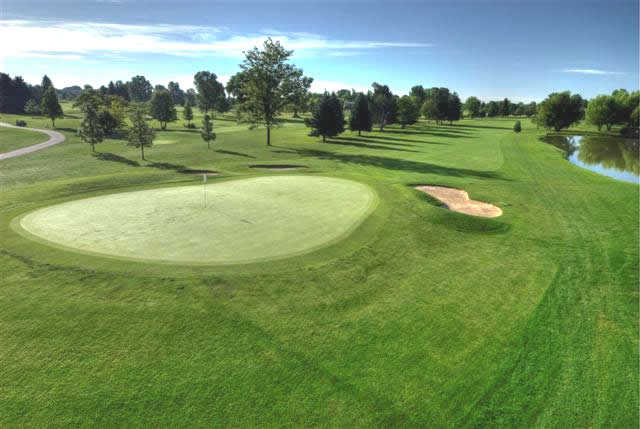 A view of green #18 at Collindale Golf Course