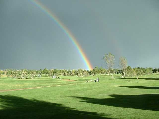 A view of rainbow over the Mountain Vista Greens Golf Course