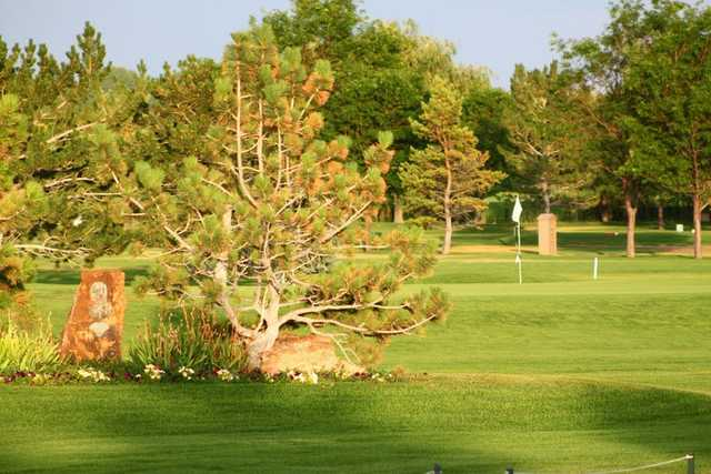 A sunny view of green at Mountain Vista Greens Golf Course