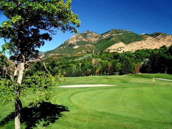 A view of the 8th green at El Monte Golf Course