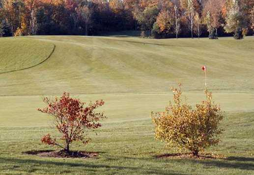 A fall view of a green at Red Falcon Course from Chippewa Creek Golf & Country Club