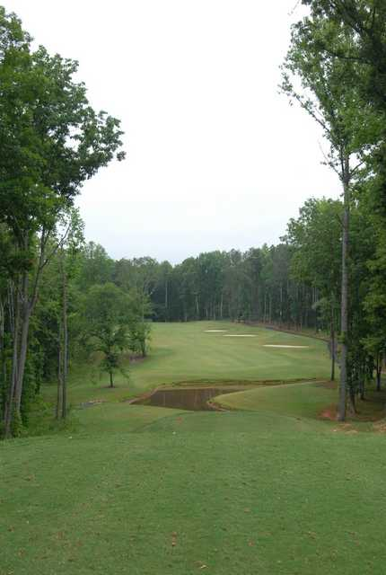 A view of tee and fairway at Double Oaks Golf Club