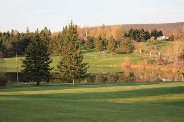 A view over the water of green at Panorama Golf Course