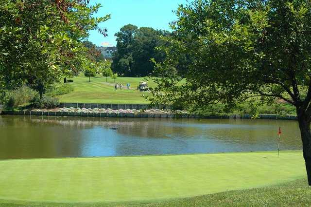 A view of a green with water coming into play at Evansville Country Club