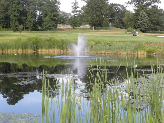 A view over the water of a green at Windmill Hill Golf Course