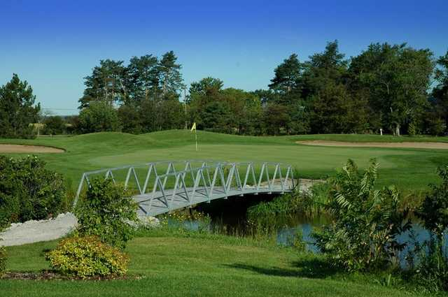 A view over the bridge of green #14 at Mystic Ridge from Oakville Executive Golf Course