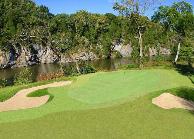 A view of the splendid par-5 4th green at River Islands Golf Club